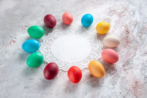 Front view colored easter eggs on white background group spring ornate colours multi colourful