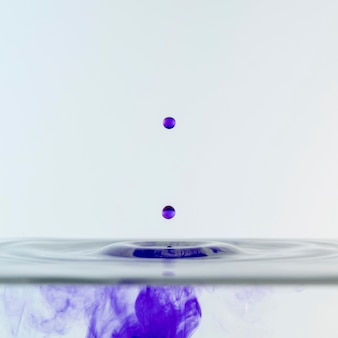 Front view of colored liquid and drops