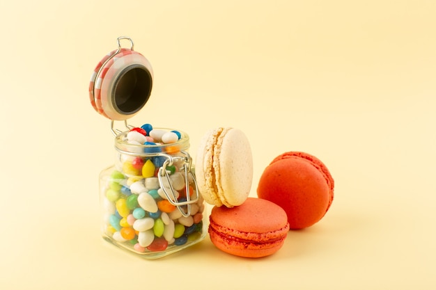 A front view colorful candies with french macarons