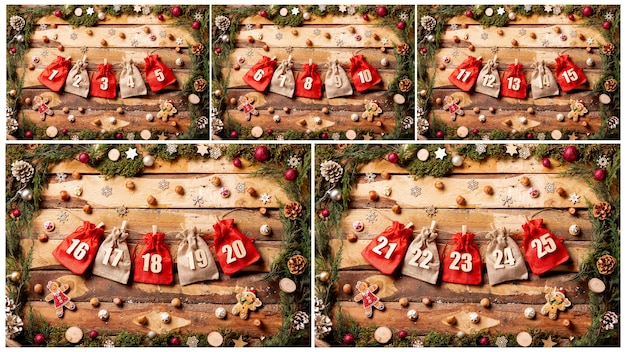 Front view colorful collection of advent calendar