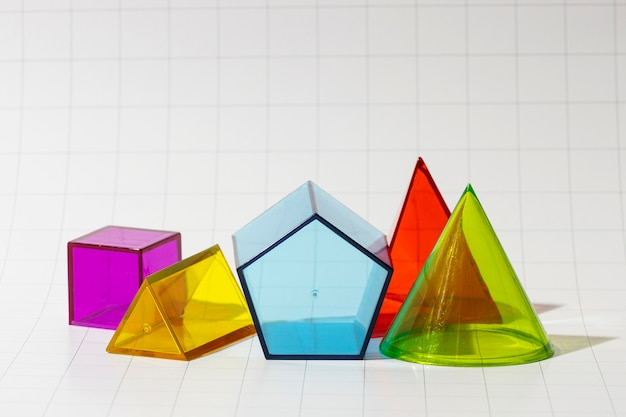Front view of colorful geometric forms