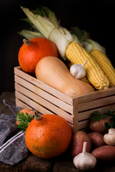 Front view composition of autumn vegetables