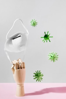 Front view of coronavirus concept with medical mask