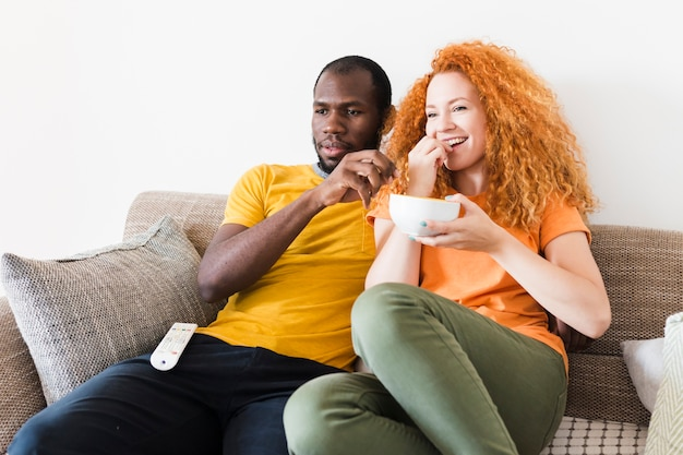 Front view of couple spending time together