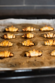 Front view of croissants on baking sheet