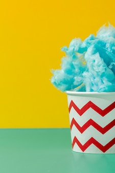 Front view of cup with cotton candy