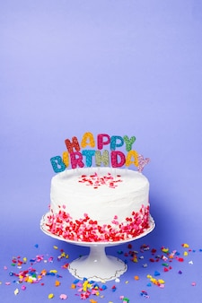 Front view delicious birthday cake with Premium Photo