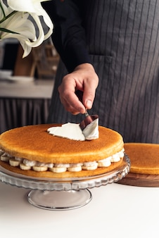 Vista frontale del delizioso concetto di torta