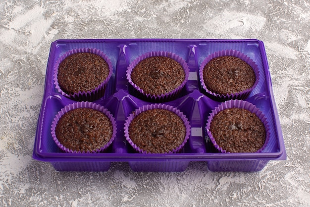 Front view of delicious chocolate brownies inside purple stand on the light surface