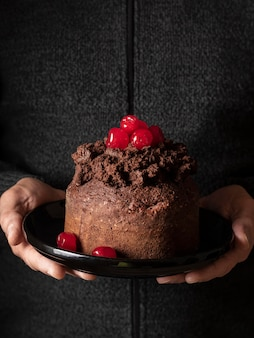Front view of delicious chocolate cake concept