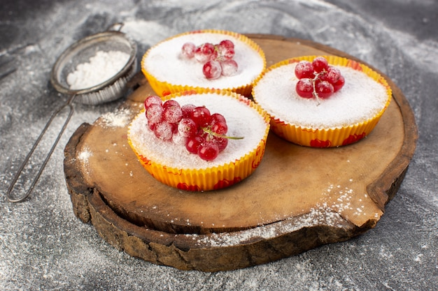Front view of delicious cranberry cakes with red cranberries on top sugar pieces and powder