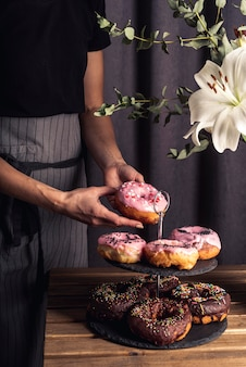 Front view of delicious donuts concept