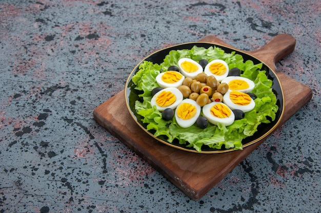 Front view delicious egg salad on light background