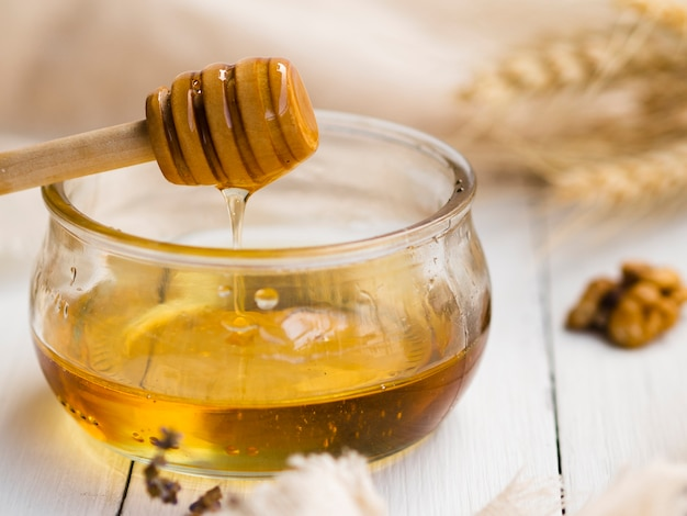 Front view of delicious honey