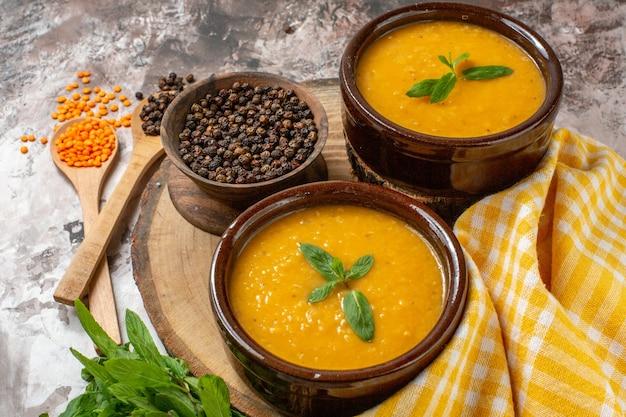 Front view delicious lentils soup