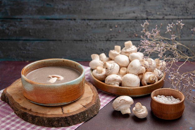 Front view delicious mushroom soup with fresh mushrooms on dark space