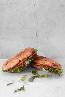 Front view delicious sandwiches composition