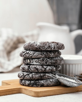 Front view of delicious stacked chocolate cookies
