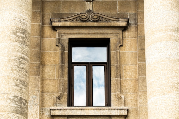 Front view design of old window frame