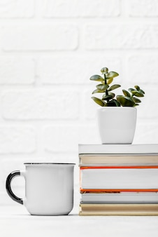 Front view of desk with stacked books and mug