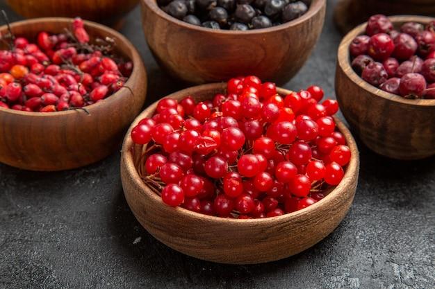 Вид спереди разные свежие фрукты внутри тарелок на темном фоне цветная фотография фруктов много спелых соков