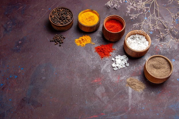 Vista frontale diversi condimenti all'interno di pentole su sfondo scuro minestra salsa pasto cibo vegetale