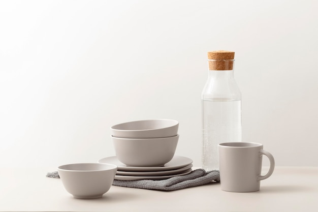 Front view of dishes set on table