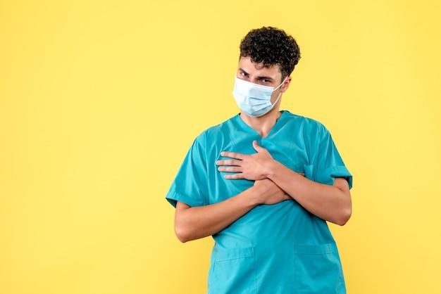 Visione frontale del dottore il dottore promette che farà del suo meglio per curare i pazienti con covid-