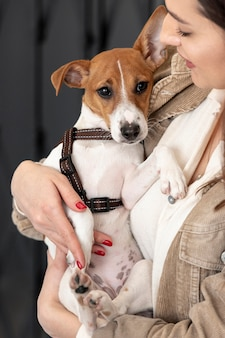 Front view of dog held in arms by woman
