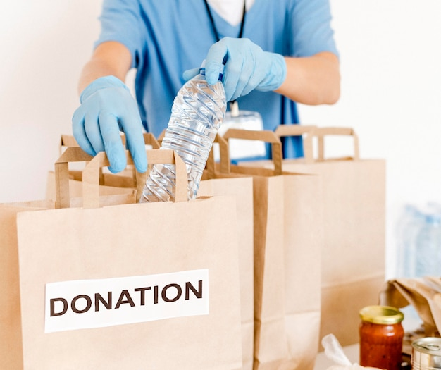 Front view of donation bags being prepared with provisions