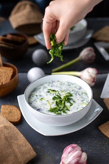 A front view dovga dish with dried mint getting poured with greens inside white plate along with bread loafs eggs flowers on the table soup liquid hot on the grey desk