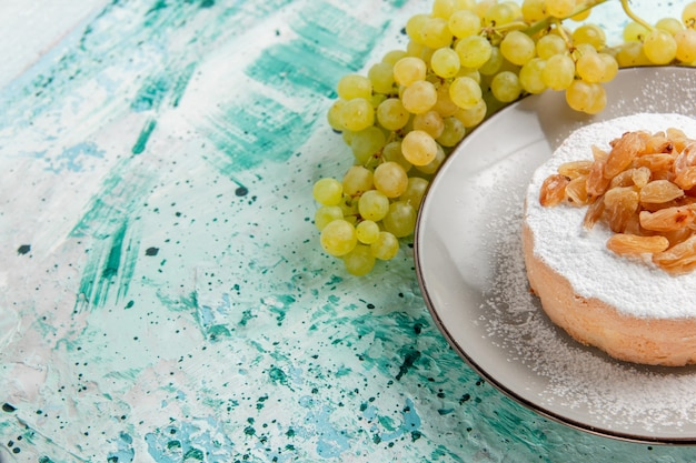 正面図ブドウからの乾燥レーズンと新鮮な緑のブドウと青い表面に砂糖粉末ケーキ乾燥レーズンフルーツカラー写真ケーキ砂糖