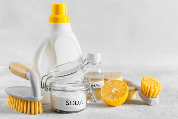 Front view of eco-friendly cleaning brushes with lemon and baking soda