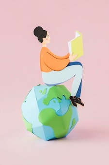 Vista frontale del concetto di giorno di istruzione