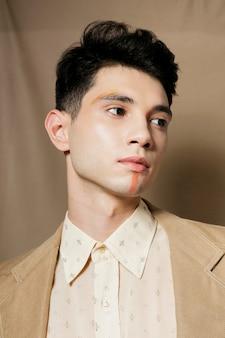 Front view of elegant man in suit looking away