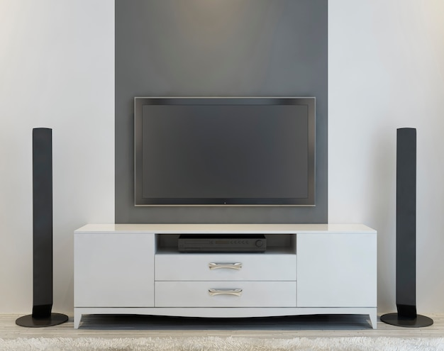 Front view of elegant white console tv and music speakers. 3d render.