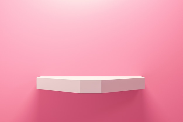Front view of empty shelf on pink wall background with modern minimal concept.