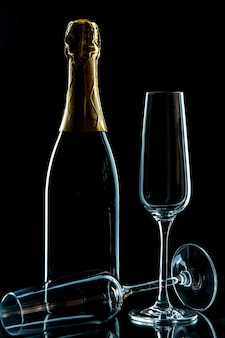 Front view empty wine glasses with champagne on the black drink wine photo transparent
