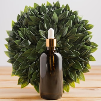 Front view of essential oil bottle