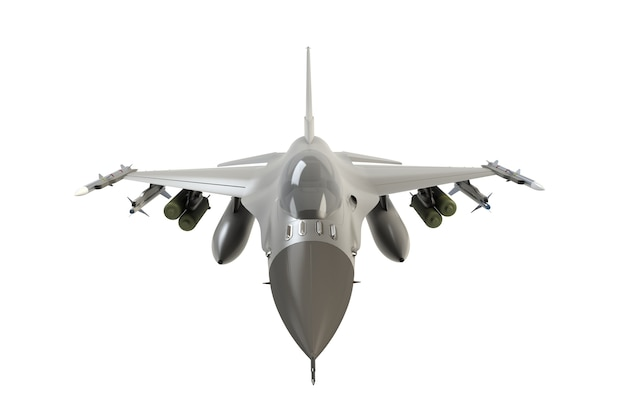 Front view of f16, american military fighter plane on white background, 3d rendering