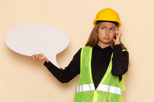 白い壁の女性建築家を考えて大きな白い看板を保持している黄色いヘルメットの正面図の女性ビルダー