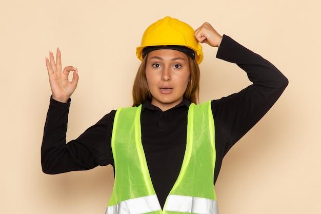 Женщина-строитель в желтом шлеме, вид спереди, показывает знак хорошо на белой стене