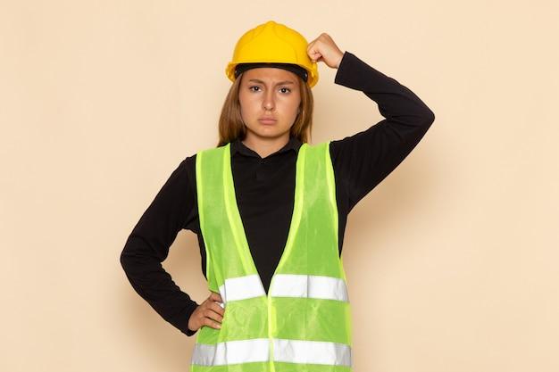 Женщина-строитель в желтом шлеме с растерянным выражением лица на белой стене, вид спереди