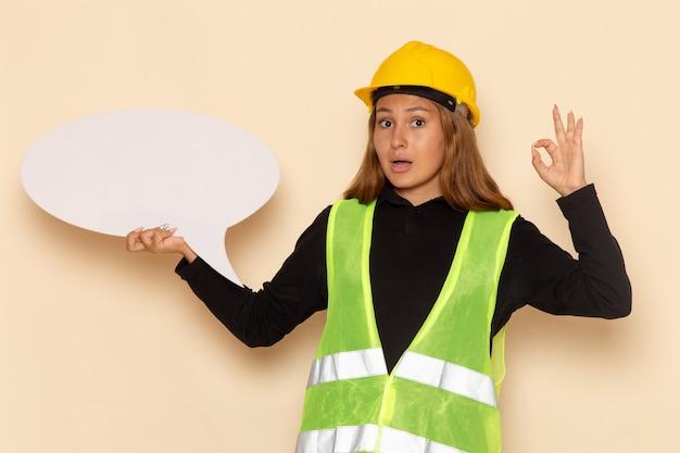 Costruttore femminile di vista frontale in casco giallo che tiene un grande segno bianco sull'architetto femminile dello scrittorio bianco