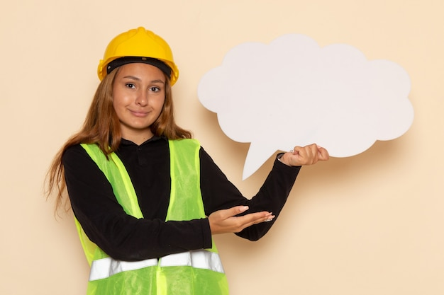 Costruttore femminile di vista frontale in casco giallo che tiene segno bianco che sorride sulla femmina bianca della parete