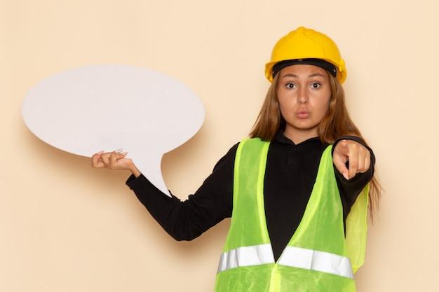 Costruttore femminile di vista frontale in casco giallo che tiene segno bianco sull'architetto femminile dello scrittorio bianco