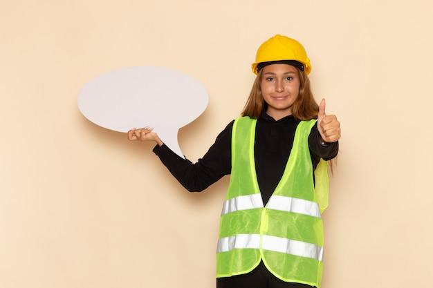 Costruttore femminile di vista frontale in casco giallo che tiene segno bianco con il sorriso sull'architetto femminile della parete bianca