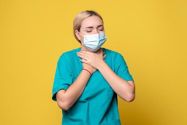 医療シャツと滅菌マスクの正面図の女性医師、病院の医療看護師のパンデミックの健康