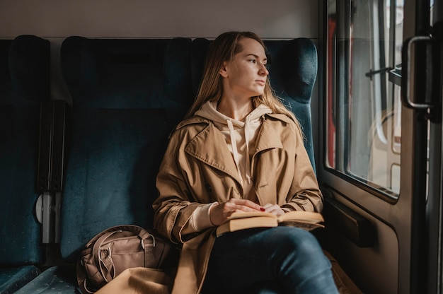 Front view female passenger sitting in a train
