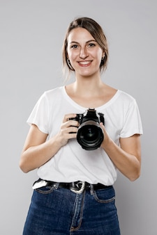 Front view of female photographer